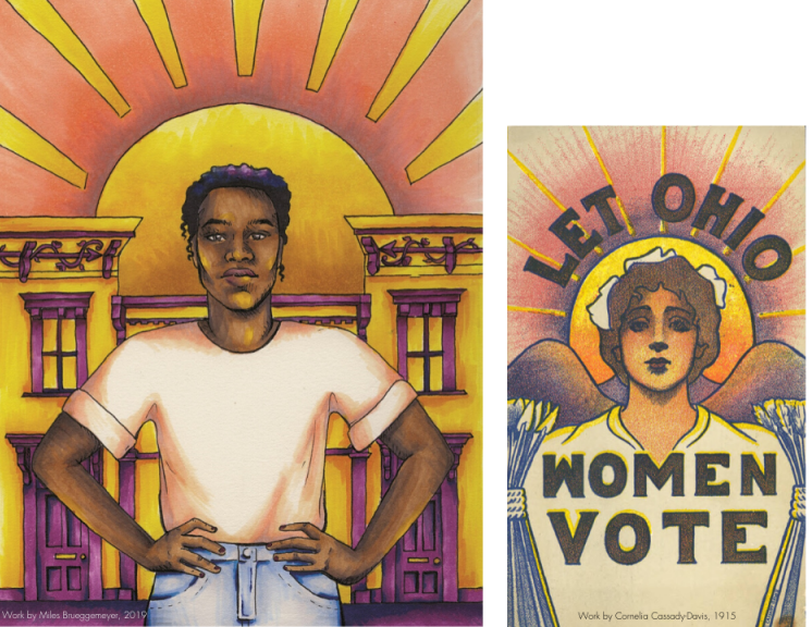 This artwork by Youth Apprentice Miles Brueggemeyer (left) was developed in tribute to this original suffrage artwork (right) created by Cincinnati artist, Cornelia Cassady-Davis, in 1915 (image courtesy of the Ohio History Connection).