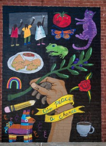 East Price Hill Mural Series: Give Peace a Chance © 2017 ArtWorks / Lizzy DuQuette & John Lanzador / 3515 Warsaw Ave. / Photo by J. Miles Wolf
