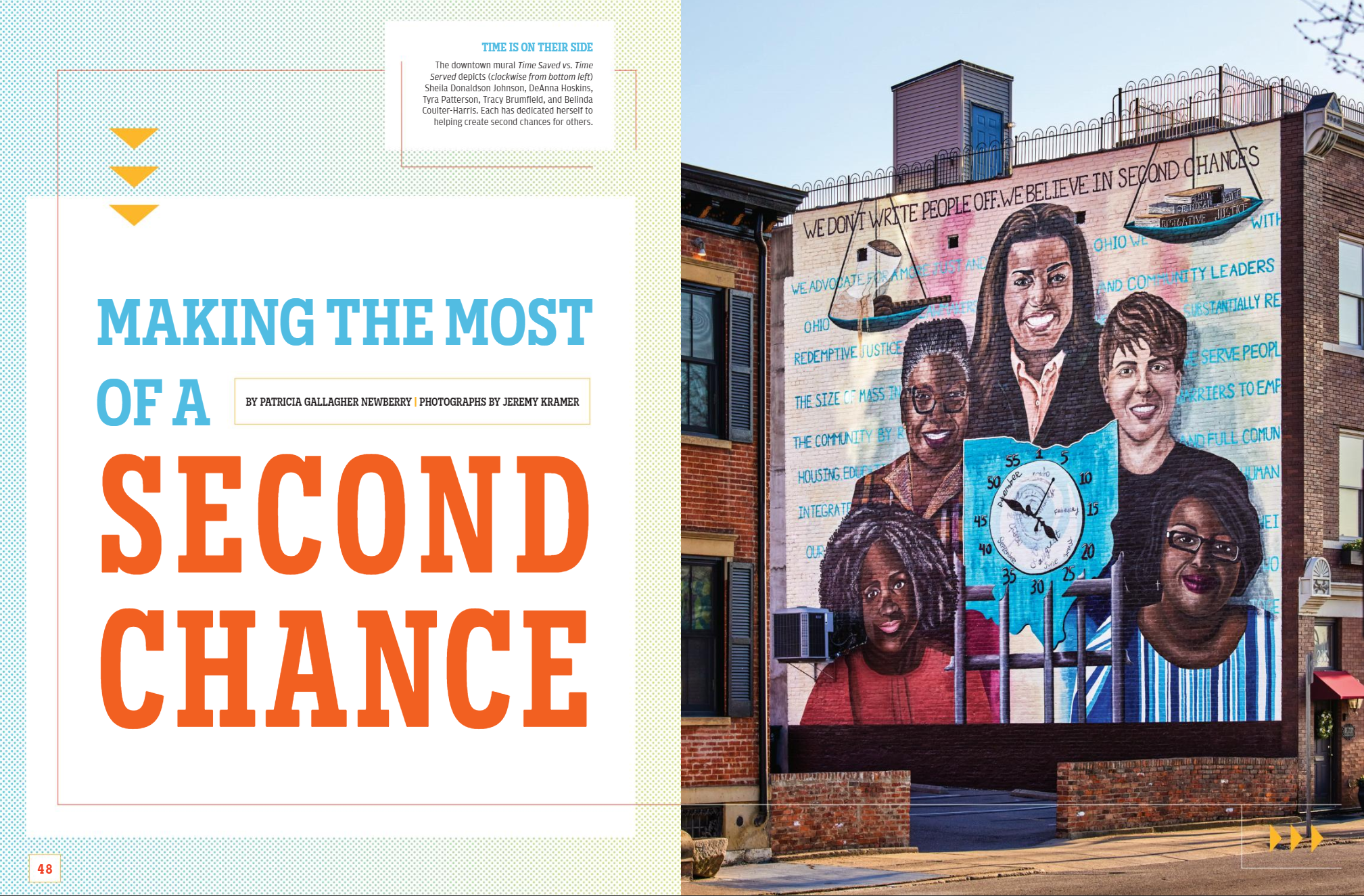 Magazine spread that includes Time Saved vs. Time Saved mural of five women surrounding a clock shaped like the state of Ohio with numbers replaced with sentence terms of 5 year increments.